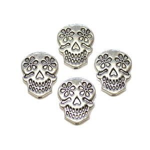 Silver Tone Metal Sugar Skull 17x22mm BeadsBeads by Halcraft Collection