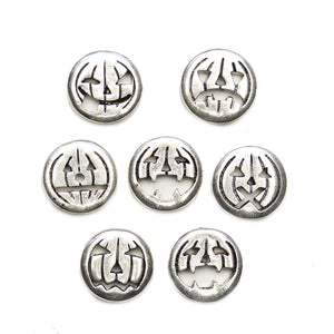 Silver Tone Metal Jack O Lantern Emoji Mix 16mm BeadsBeads by Halcraft Collection