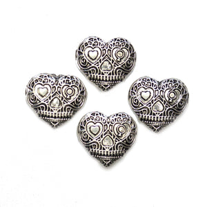 Silver Tone Metal Sugar Skull Heart 20mm BeadsBeads by Halcraft Collection