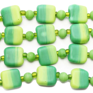 Green Mix Indian Glass Square 13mm BeadsBeads by Halcraft Collection