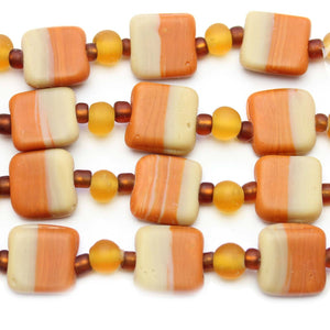 Amber Mix Indian Glass Square 13mm BeadsBeads by Halcraft Collection