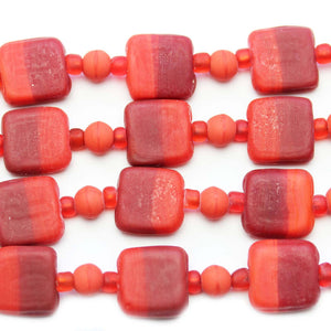 Red Mix Indian Glass Square 13mm BeadsBeads by Halcraft Collection