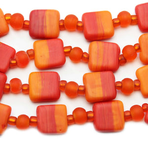 Orange Mix Indian Glass Square 13mm BeadsBeads by Halcraft Collection