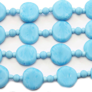 Aqua Swirl Indian Glass Lentil 15mm BeadsBeads by Halcraft Collection