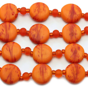 Orange Swirl Indian Glass Lentil 15mm BeadsBeads by Halcraft Collection