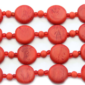 Red Swirl Indian Glass Lentil 15mm BeadsBeads by Halcraft Collection