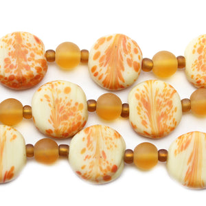 Amber Swirl Indian Glass Lentil 15mm BeadsBeads by Halcraft Collection