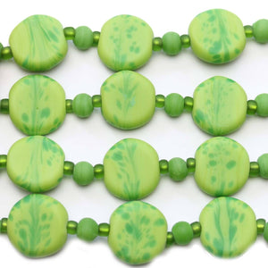 Green Swirl Indian Glass Lentil 15mm BeadsBeads by Halcraft Collection