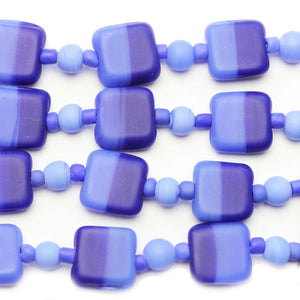 Blue Mix Indian Glass Square 13mm BeadsBeads by Halcraft Collection
