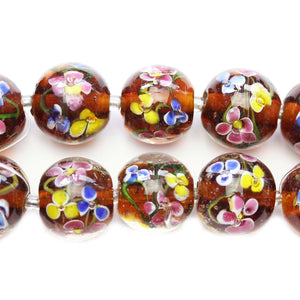 Purple Floral Lampwork Glass Round 20mm BeadsBeads by Halcraft Collection