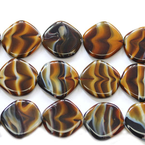 Czech Glass Amber Swirl Lentil 20mm BeadsBeads by Halcraft Collection