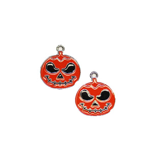 Silver Tone with Enamel Metal Jack O Lantern 20x22mm Charms - 2pcsCharm by Halcraft Collection