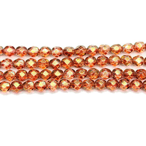 Czech Glass Topaz Luster Faceted 6mm BeadsBeads by Halcraft Collection