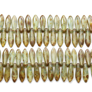 Czech Glass Green Dagger 5x16mm BeadsBeads by Halcraft Collection