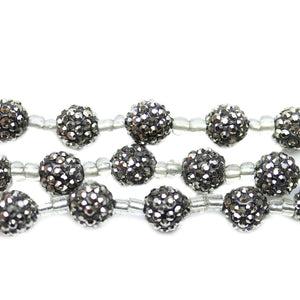Gunmetal Glass Rhinestone on Clay Ball 10mm BeadsBeads by Halcraft Collection