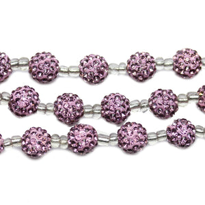 Lavender Glass Rhinestone on Clay Ball 10mm BeadsBeads by Halcraft Collection