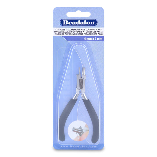 Memory Wire Finishing Pliers, 4 mm  & 2 mm  (0.157 in & 0.079 in) Diameter EndsTool by Bead Gallery