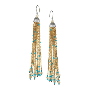 Citrine & Turquoise Tassel Earrings with Lined Textured CapJewelry by Halcraft Collection