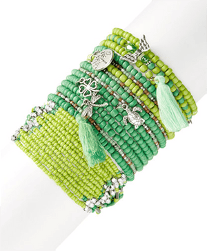 Big Green Stretchy Boho StackBracelets by Bead Gallery
