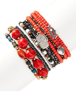 Coral Reds Pirate Treasure StackBracelets por Bead Gallery