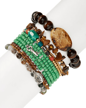 Naturals & Glass Balance StackBracelets by Halcraft Collection