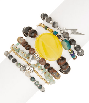 Love Of Buddah Natural Stone StackBracelets by Halcraft Collection