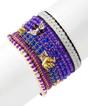 Tones Of Violet & Hues Of Blue StackBracelets by Bead Gallery