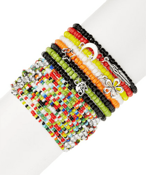 Big Colormix Stretchy Boho StackBracelets by Bead Gallery