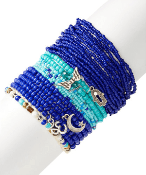 Lapis & Turquoise Glass StackBracelets by Halcraft Collection