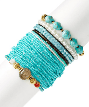 Cruise Blues Bracelet StackBracelets por Bead Gallery