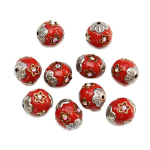 Resin, Metal & Glass Red 10mm Round BeadsBeads by Halcraft Collection