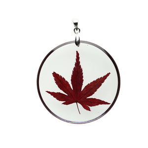 Real Dark Red Japanese Maple Leaf in Resin with Metal 45mm PendantPendant by Halcraft Collection