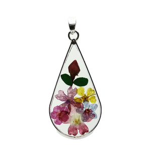 Real Flower Bouquet in Resin with Metal 25x45mm PendantPendant by Halcraft Collection