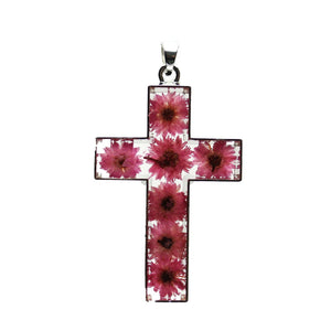 Real Pink Flowers in Resin Cross with Metal 35x50mm PendantPendant by Halcraft Collection