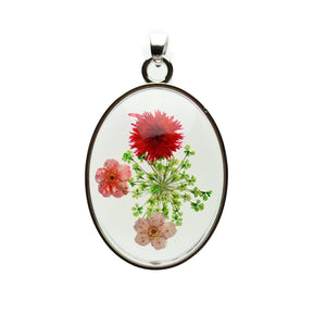 Real Pink & Red Flower Bouquet in Resin with Metal 31x42mm PendantPendant by Halcraft Collection