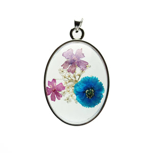 Real Multi Flower Bouquet in Resin with Metal 31x42mm PendantPendant by Halcraft Collection