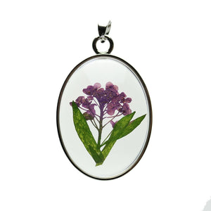 Real Lavender Flower Bouquet in Resin with Metal 31x42mm PendantPendant by Halcraft Collection