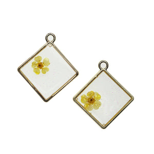 Real Yellow Flower in Resin with Gold 28mm PendantPendant by Halcraft Collection