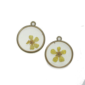 Real Yellow Flower in Resin with Gold 20mm PendantPendant by Halcraft Collection