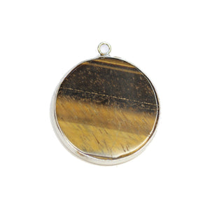 Tiger Eye Stone Round with Metal 31mm PendantPendant by Halcraft Collection