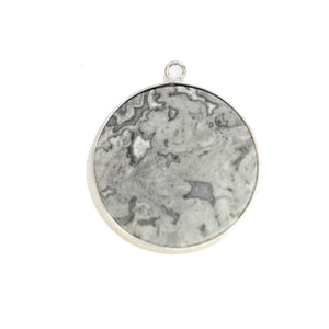 Map Stone Round with Metal 31mm PendantPendant by Halcraft Collection