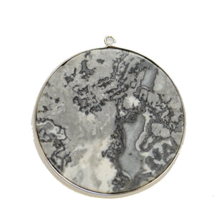Map Stone Round with Metal 51mm PendantPendant by Halcraft Collection