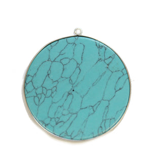 Turquoise Dyed Howlite Stone Round with Metal 51mm PendantPendant by Halcraft Collection