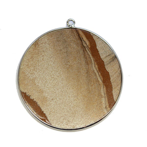 Colgante Picture Jasper Stone Redondo con colgante de metal de 51 mm de Halcraft Collection