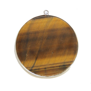Tiger Eye Stone Round with Metal 51mm PendantPendant by Halcraft Collection