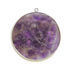 Amethyst Stone Round with Metal 51mm PendantPendant by Halcraft Collection