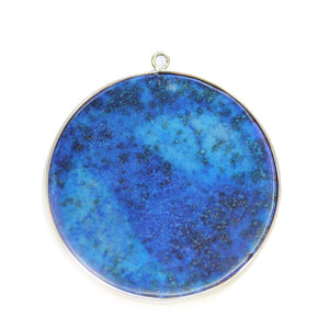 Reconstituted Lapis Stone Round with Metal 51mm PendantPendant by Halcraft Collection