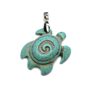 Turquoise Dyed Reconstituted Stone Turtle 29x41mm PendantPendant by Halcraft Collection