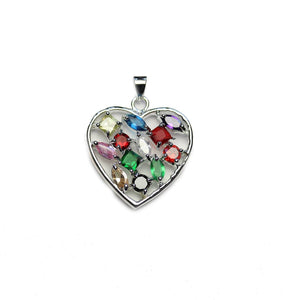 Silver Plated Metal with Cubic Zirconia Stones Heart Multi 25mm PendantPendant by Halcraft Collection