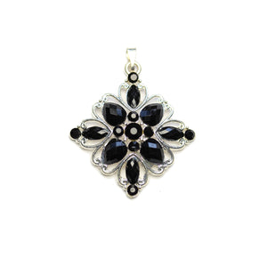 Colgante de cristal negro con diamante plateado de 35 mm de Halcraft Collection